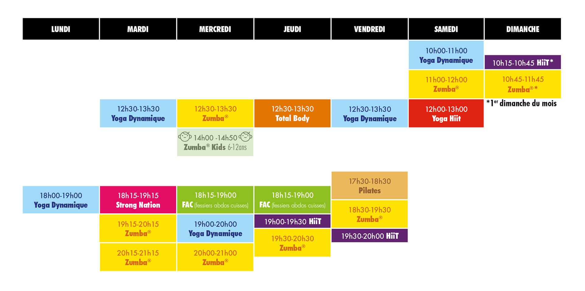 Planning des cours MC Studio à partir du 24 août 2020