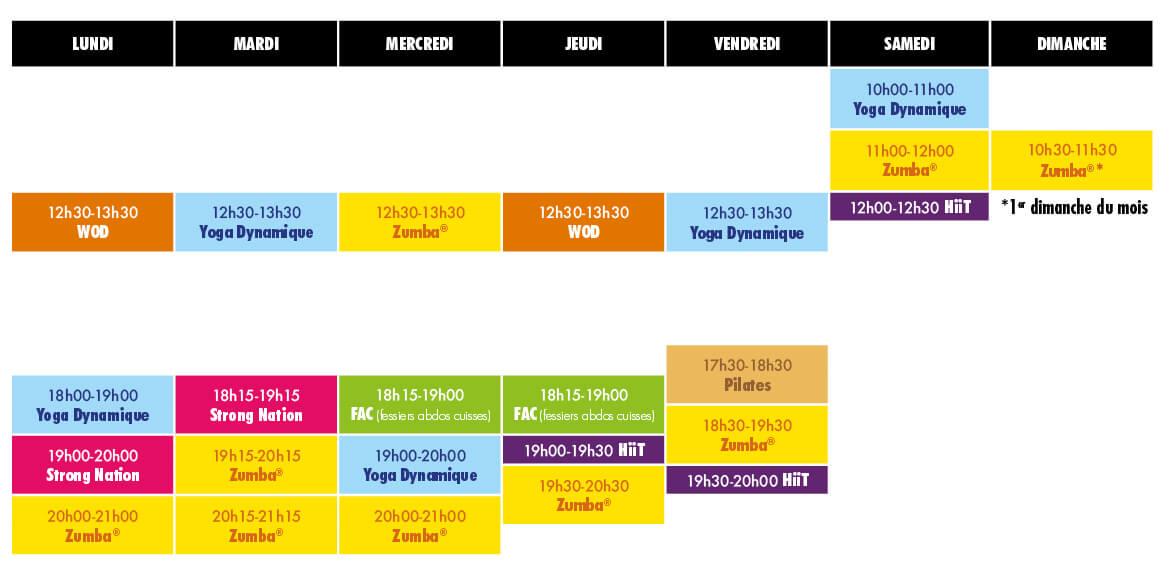 Planning des cours MC Studio à partir de septembre 2021